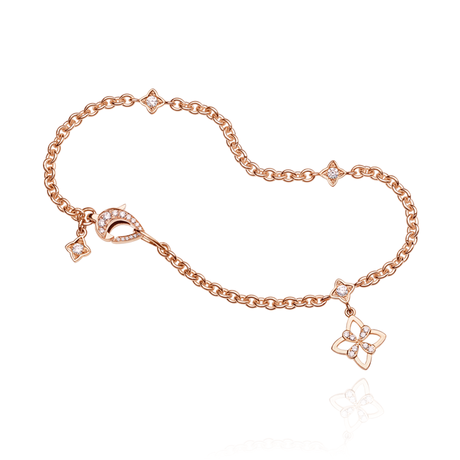 Legacy Charm Bracelet with hanging motif in Red Gold