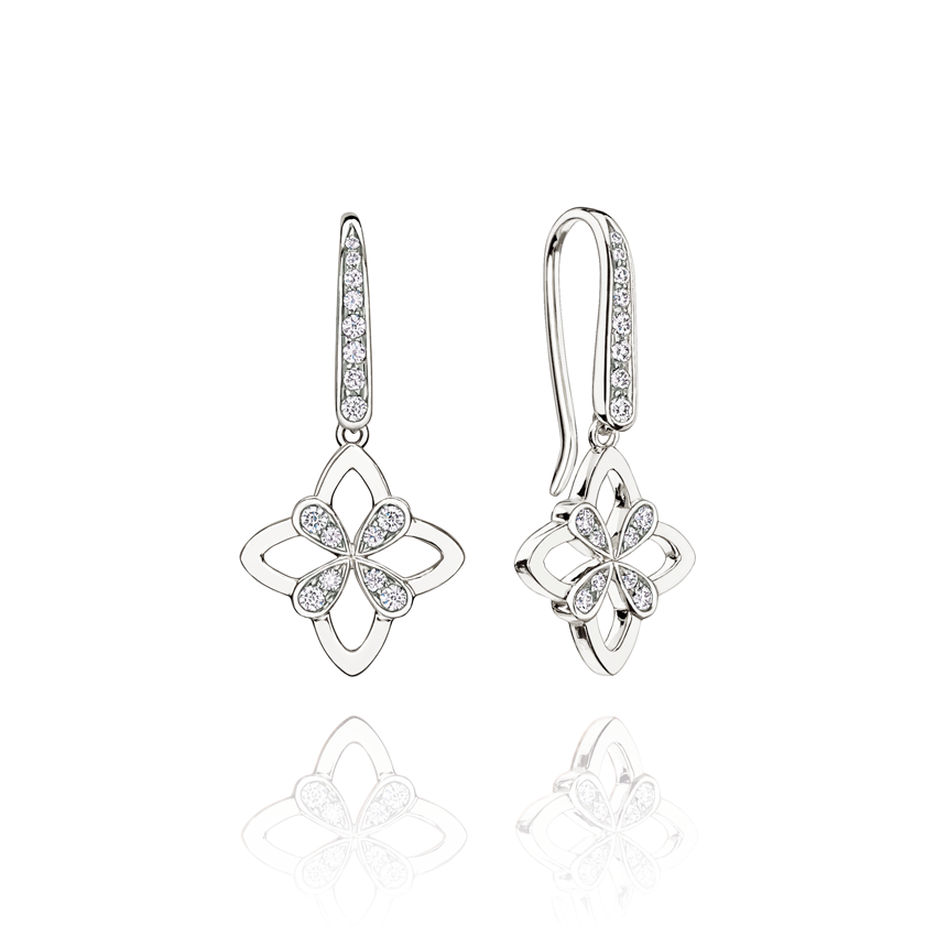 Legacy Drop Earrings in White Gold